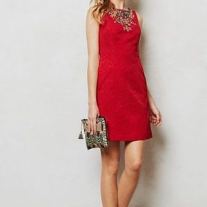 Anthropology Moulinette soeurs Red Holiday dress